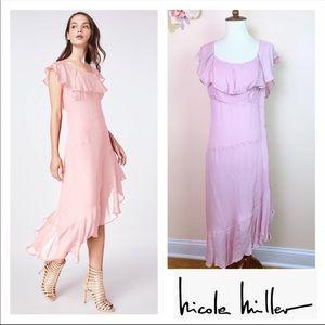 New NICOLE MILLER Silk Flutter Sleeve Ruffle Dress